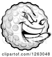 Clipart Of A Tough Golf Ball Mascot Royalty Free Vector Illustration by Chromaco
