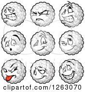 Clipart Of Golf Ball Mascots Royalty Free Vector Illustration by Chromaco