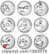 Clipart Of Golf Ball Mascots Royalty Free Vector Illustration