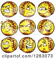 Clipart Of Softball Mascots Royalty Free Vector Illustration by Chromaco