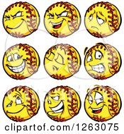 Clipart Of Softball Mascots Royalty Free Vector Illustration