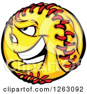 Clipart Of A Softball Mascot Royalty Free Vector Illustration by Chromaco