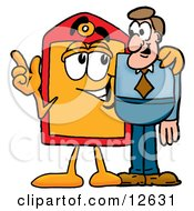 Price Tag Mascot Cartoon Character Talking To A Business Man
