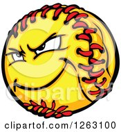 Clipart Of A Tough Softball Mascot Royalty Free Vector Illustration by Chromaco