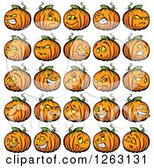 Clipart Of Halloween Pumpkin Characters Royalty Free Vector Illustration by Chromaco