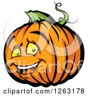 Clipart Of A Happy Halloween Pumpkin Character Royalty Free Vector Illustration by Chromaco