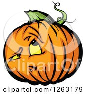 Clipart Of A Halloween Pumpkin Character Royalty Free Vector Illustration by Chromaco