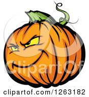 Clipart Of A Tough Halloween Pumpkin Character Royalty Free Vector Illustration by Chromaco