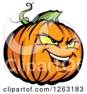 Clipart Of A Tough Halloween Pumpkin Character Royalty Free Vector Illustration
