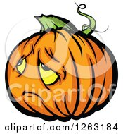 Clipart Of A Sad Halloween Pumpkin Character Royalty Free Vector Illustration by Chromaco