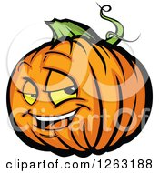 Clipart Of A Halloween Pumpkin Character Royalty Free Vector Illustration