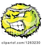 Clipart Of A Tough Tennis Ball Mascot Royalty Free Vector Illustration by Chromaco