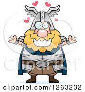 Clipart Of A Cartoon Loving Chubby Thor With Open Arms And Hearts Royalty Free Vector Illustration by Cory Thoman