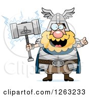 Clipart Of A Cartoon Smart Chubby Thor Holding A Hammer Royalty Free Vector Illustration