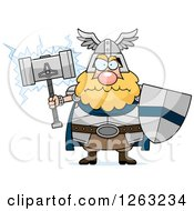 Clipart Of A Cartoon Mad Chubby Thor Holding A Hammer And Shield Royalty Free Vector Illustration