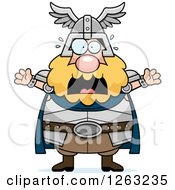 Clipart Of A Cartoon Scared Screaming Chubby Thor Royalty Free Vector Illustration