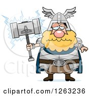 Clipart Of A Cartoon Sad Depressed Chubby Thor Holding A Hammer Royalty Free Vector Illustration