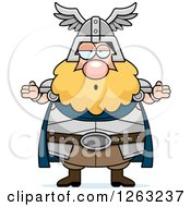Clipart Of A Cartoon Careless Shrugging Chubby Thor Royalty Free Vector Illustration