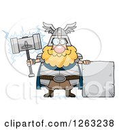 Clipart Of A Cartoon Happy Chubby Thor Holding A Hammer By A Stone Sign Royalty Free Vector Illustration