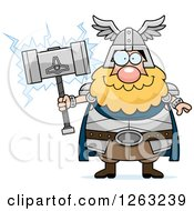 Clipart Of A Cartoon Happy Chubby Thor Holding A Hammer Royalty Free Vector Illustration