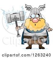 Clipart Of A Cartoon Surprised Chubby Thor Holding A Hammer Royalty Free Vector Illustration
