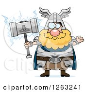 Clipart Of A Cartoon Friendly Waving Chubby Thor Holding A Hammer Royalty Free Vector Illustration