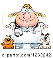 Clipart Of A Cartoon Happy Chubby Blond White Female Veterinarian With A Cat And Dog Royalty Free Vector Illustration