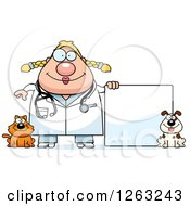 Clipart Of A Cartoon Happy Chubby Blond White Female Veterinarian With A Cat And Dog And A Blank Sign Royalty Free Vector Illustration