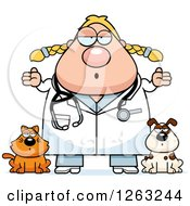 Clipart Of A Cartoon Careless Shrugging Chubby Blond White Female Veterinarian With A Cat And Dog Royalty Free Vector Illustration