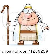 Clipart Of A Cartoon Happy Chubby Male Shepherd Royalty Free Vector Illustration by Cory Thoman