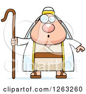 Clipart Of A Cartoon Surprised Chubby Male Shepherd Royalty Free Vector Illustration