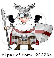 Cartoon Chubby Mad Odin With A Spear And Shield