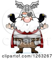 Clipart Of A Cartoon Careless Shrugging Chubby Odin Royalty Free Vector Illustration
