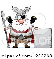Clipart Of A Cartoon Happy Chubby Odin With A Stone Sign Royalty Free Vector Illustration by Cory Thoman