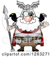 Clipart Of A Cartoon Friendly Waving Chubby Odin Royalty Free Vector Illustration by Cory Thoman