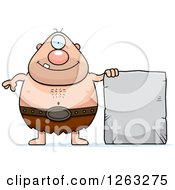Clipart Of A Cartoon Happy Cyclops Man With A Stone Tablet Royalty Free Vector Illustration by Cory Thoman