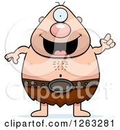 Clipart Of A Cartoon Happy Cyclops Man With An Idea Royalty Free Vector Illustration by Cory Thoman