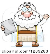 Clipart Of A Cartoon Friendly Waving Chubby Moses Holding A Tablet Royalty Free Vector Illustration by Cory Thoman