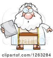 Clipart Of A Cartoon Surprised Chubby Moses Holding A Tablet Royalty Free Vector Illustration