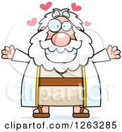 Clipart Of A Cartoon Loving Chubby Moses With Open Arms And Hearts Royalty Free Vector Illustration by Cory Thoman