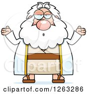 Clipart Of A Cartoon Careless Shrugging Chubby Moses Royalty Free Vector Illustration