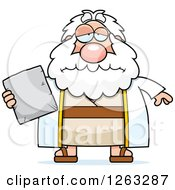 Clipart Of A Cartoon Sad Depressed Chubby Moses Holding A Tablet Royalty Free Vector Illustration by Cory Thoman