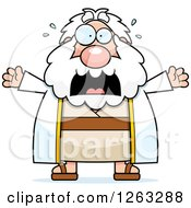 Clipart Of A Cartoon Scared Screaming Chubby Moses Royalty Free Vector Illustration by Cory Thoman