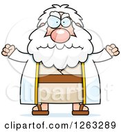 Clipart Of A Cartoon Mad Chubby Moses Holding His Fsts Up Royalty Free Vector Illustration by Cory Thoman