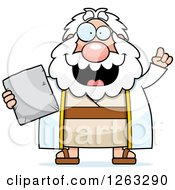 Clipart Of A Cartoon Smart Chubby Moses Holding A Tablet With An Idea Royalty Free Vector Illustration by Cory Thoman