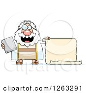 Clipart Of A Cartoon Happy Chubby Moses Holding A Tablet And Scroll Royalty Free Vector Illustration by Cory Thoman