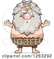 Clipart Of A Cartoon Careless Shrugging Chubby Hermit Man Royalty Free Vector Illustration