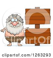 Clipart Of A Cartoon Chubby Hermit Man With Wooden Signs Royalty Free Vector Illustration