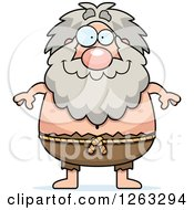 Clipart Of A Cartoon Happy Chubby Hermit Man Royalty Free Vector Illustration
