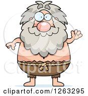 Clipart Of A Cartoon Friendly Waving Chubby Hermit Man Royalty Free Vector Illustration